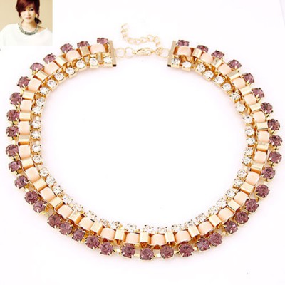 Travel light purple CZ diamond decorated Weave design alloy Bib Necklaces