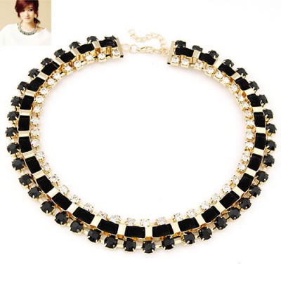 Autism black CZ diamond decorated Weave design alloy Bib Necklaces