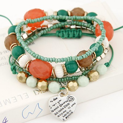 Shining multicolor beads decorated multilayer design alloy Korean Fashion Bracelet