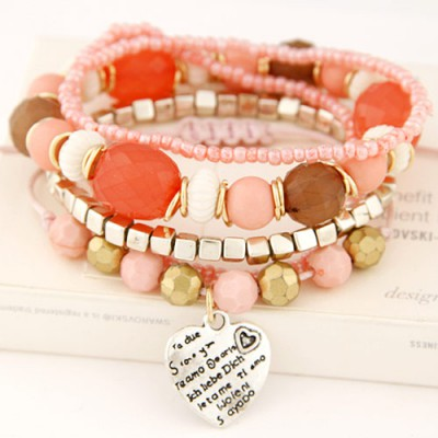 Order multicolor beads decorated multilayer design alloy Korean Fashion Bracelet