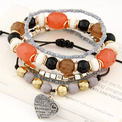 Square multicolor beads decorated multilayer design alloy Korean Fashion Bracelet