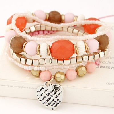 Printable multicolor beads decorated multilayer design alloy Korean Fashion Bracelet