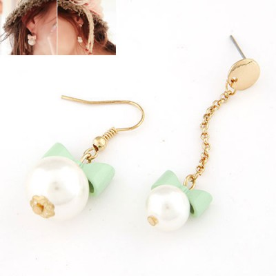 Masonic light green Bowknot decorated pearl design alloy Korean Earrings