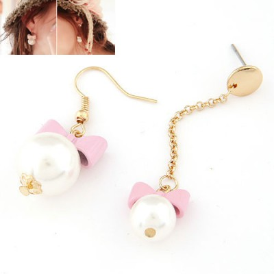 Bendable purple Bowknot decorated pearl design alloy Korean Earrings