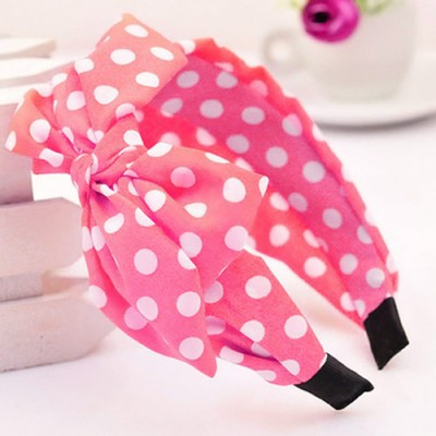 Avalon plum red bowknot decorated polka dot design fabric Hair band hair hoop