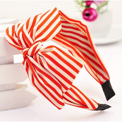Ruffled red bowknot decorated stripe design fabric Hair band hair hoop