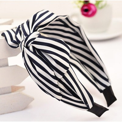 High navy blue bowknot decorated stripe design fabric Hair band hair hoop