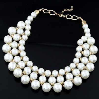 Magnetic white pearl decorated multi-level design alloy Beaded Necklaces