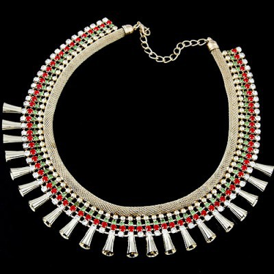 Scottish multicolor diamond decorated multi-level design alloy Bib Necklaces