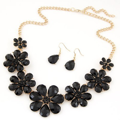 Stainless black gemstone decorated flower design alloy Jewelry Sets