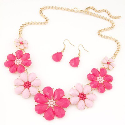 Aluminium plum red gemstone decorated flower design alloy Jewelry Sets