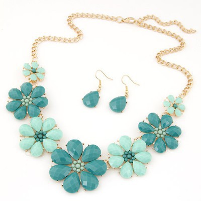 Digital ligth green gemstone decorated flower design alloy Jewelry Sets
