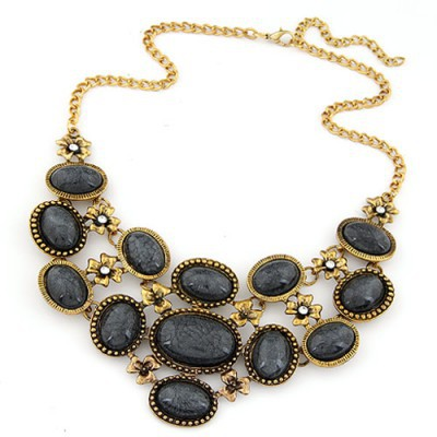 Milly black gemstone decorated oval shape design alloy Bib Necklaces