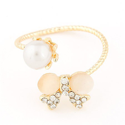 Quilted gold color pearl decorated bowknot shape design alloy Korean Rings