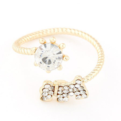 Faddish gold color diamond decorated dog shape design alloy Korean Rings
