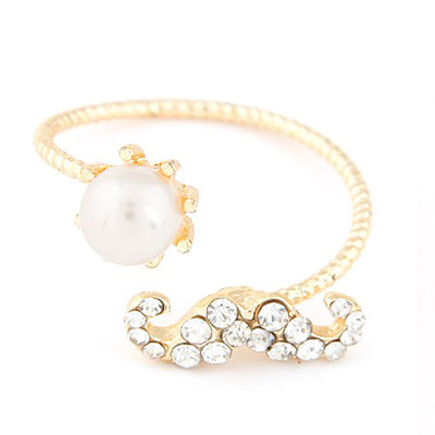 Stationery gold color pearl decorated beard shape design alloy Korean Rings