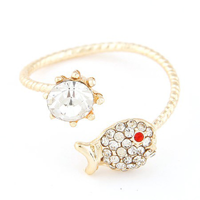 Roller gold color diamond decorated fish shape design alloy Korean Rings