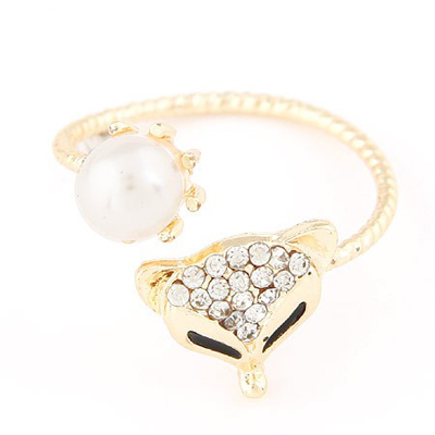 Charm gold color pearl decorated fox shape design alloy Korean Rings