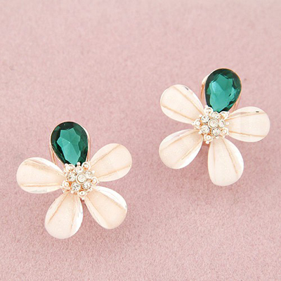 Quilted dark green diamond decorated flower design alloy Stud Earrings