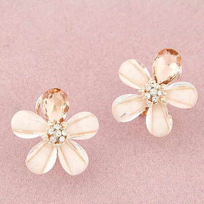 Gothic beige diamond decorated flower design alloy Stud Earrings