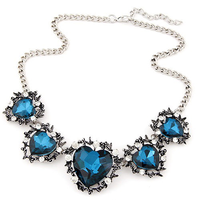 Ultra navy blue gemstone decorated heart shape design alloy Bib Necklaces