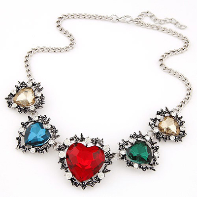 Down multicolor gemstone decorated heart shape design alloy Bib Necklaces