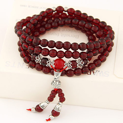Ethnic red beads decorated multi-level design bead Korean Fashion Bracelet
