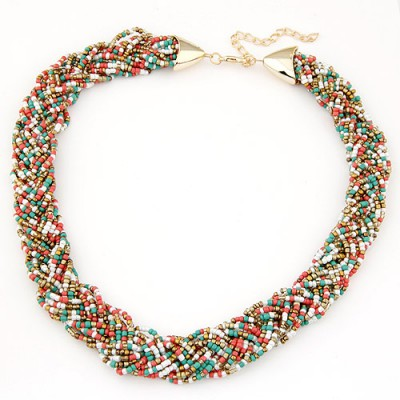 Ultra multicolor beads decorated weave design alloy Beaded Necklaces