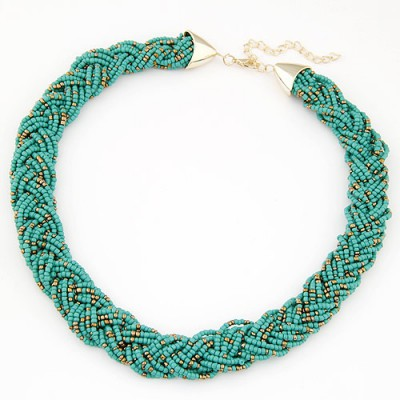 Eatable green beads decorated weave design alloy Bib Necklaces