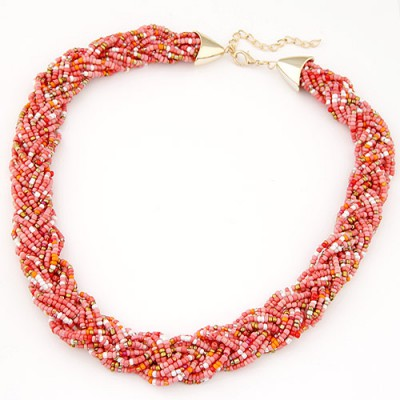 Platinum pink beads decorated weave design alloy Chains