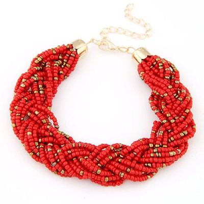 Friendly red beads decorated weave design alloy Korean Fashion Bracelet