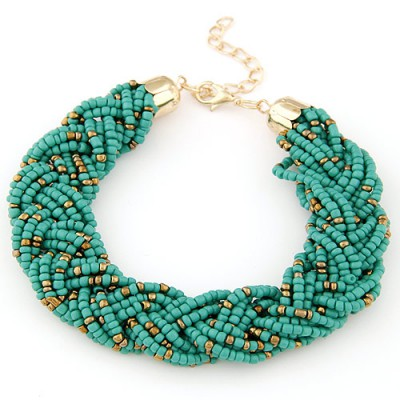 Inexpensiv green beads decorated weave design alloy Korean Fashion Bracelet