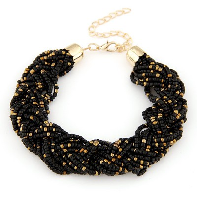 Pentacle black beads decorated weave design alloy Korean Fashion Bracelet
