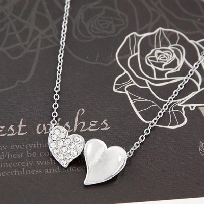 Electronic silver color diamond decorated heart shape design alloy Chains