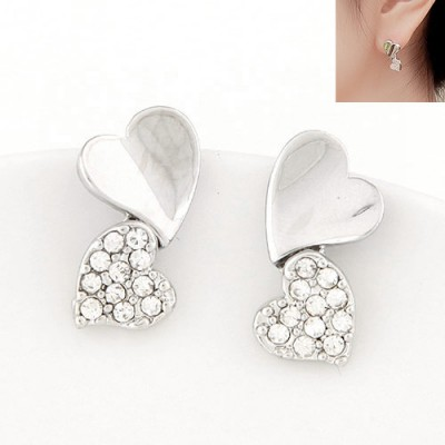 Fake silver color diamond decorated heart shape design alloy Stud Earrings