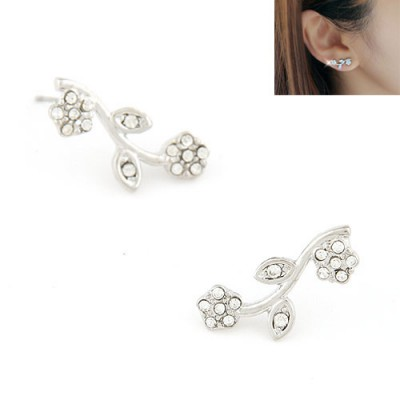 Varsity silver color diamond decorated flower design alloy Stud Earrings