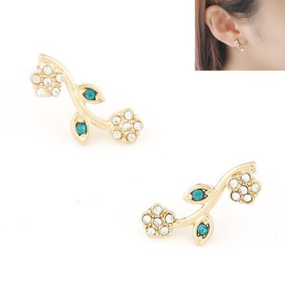 Native gold color diamond decorated flower design alloy Stud Earrings