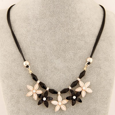 Nameplate black & beige flower decorated simple design alloy Bib Necklaces