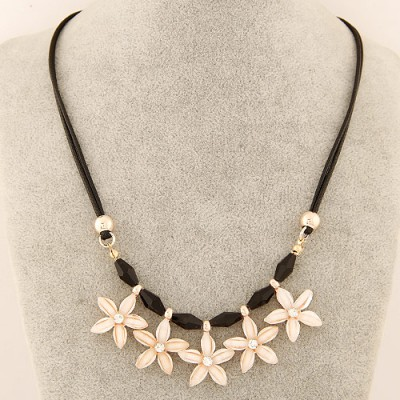 Twilight beige flower decorated simple design alloy Bib Necklaces