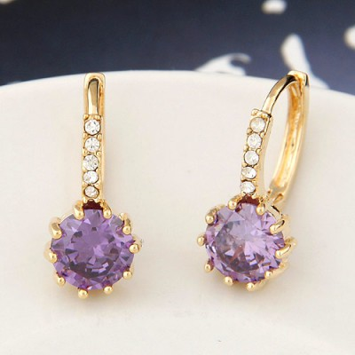 Used purple diamond decorated round shape design copper Stud Earrings
