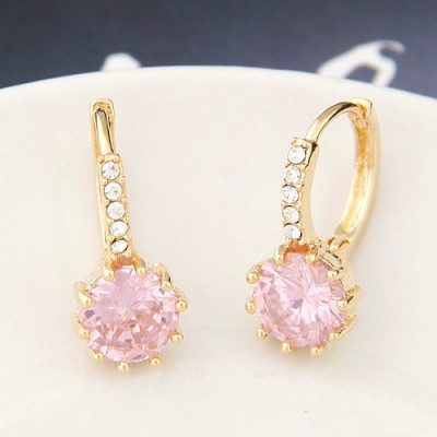Infinity pink diamond decorated round shape design copper Stud Earrings