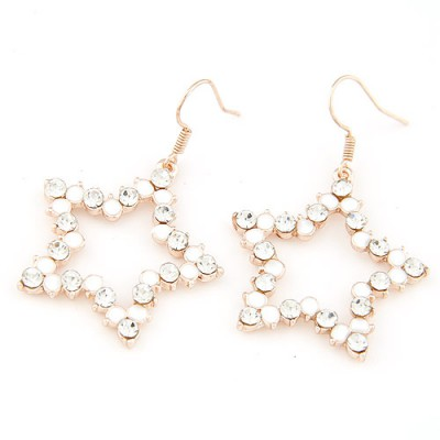 Skate white diamond decorated star shape design alloy Korean Earrings