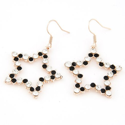 Authentic black diamond decorated star shape design alloy Korean Earrings