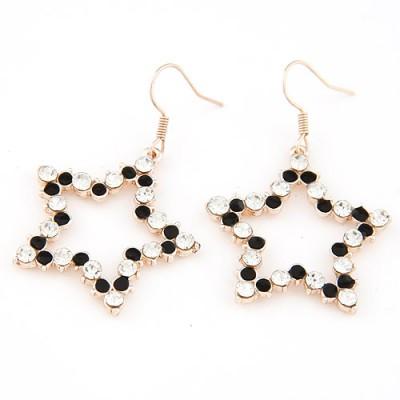 Authentic black diamond decorated star shape design alloy Korean Earrings