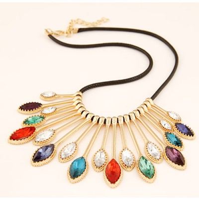 Propper multicolor gemstone decorated waterdrop shape design alloy Bib Necklaces