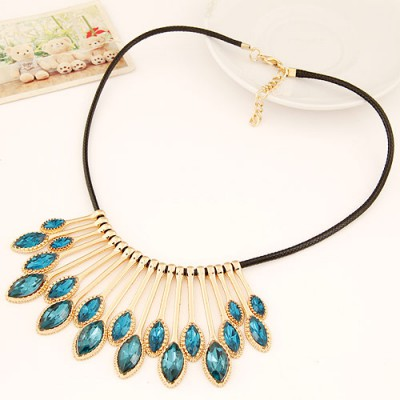 Beige blue gemstone decorated waterdrop shape design alloy Bib Necklaces