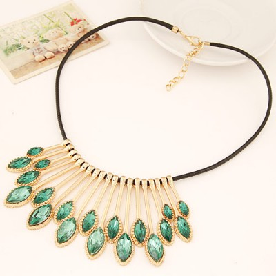 Corduroy light green gemstone decorated waterdrop shape design alloy Bib Necklaces