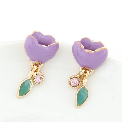 Aquamarine purple diamond decorated flower design alloy Stud Earrings