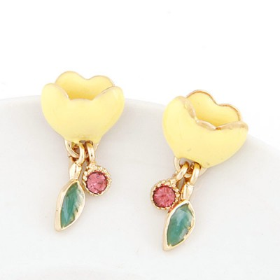 Elephant yellow diamond decorated flower design alloy Stud Earrings
