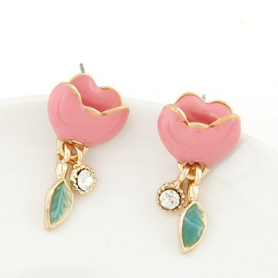 Noble pink diamond decorated flower design alloy Stud Earrings